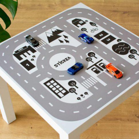 Városi utak - fekete-fehér matrica - LACK asztalra