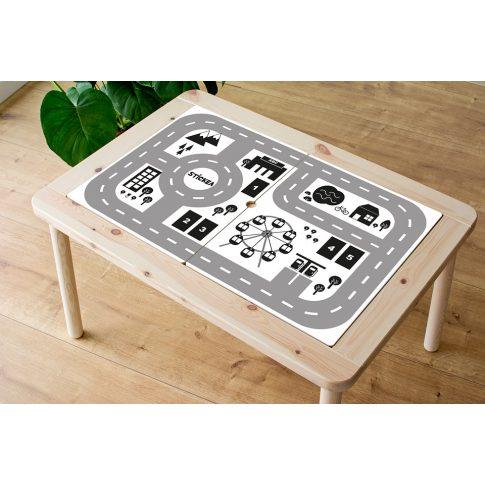 Városi utak - fekete-fehér matrica - FLISAT asztalra