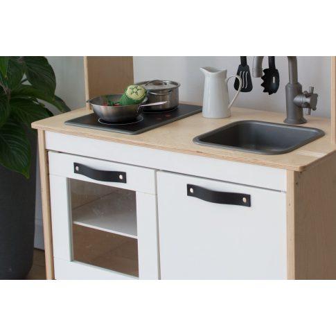 Bőrfogantyú szett (3 db) - fekete - IKEA Duktig játék konyhára