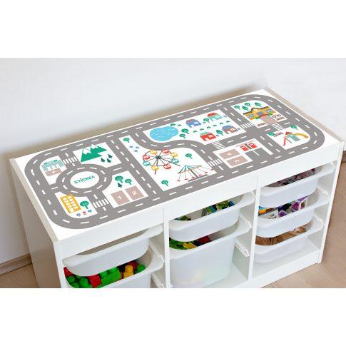 Városi utak - színes matrica - fehér TROFAST kerethez