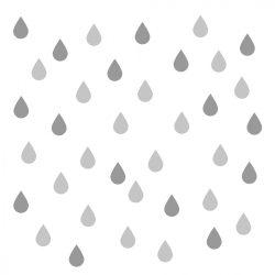 64 db esőcsepp falmatrica - szürke, kicsi