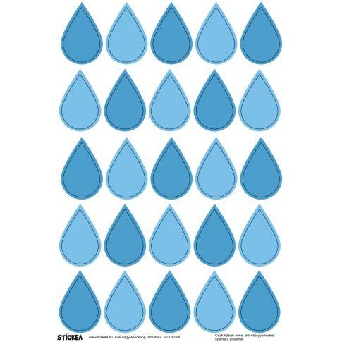 25 db esőcsepp falmatrica - kék, nagy
