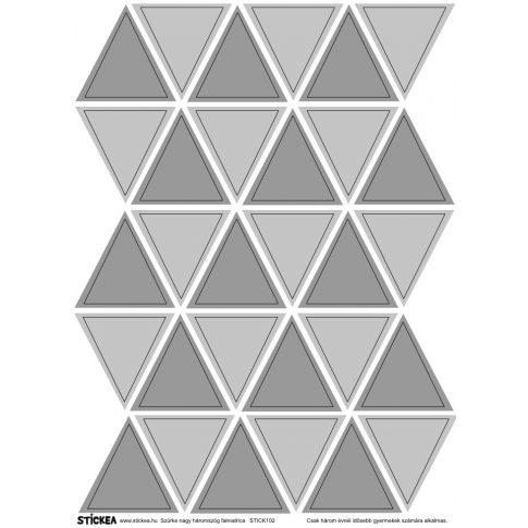 30 db háromszög falmatrica - szürke, nagy