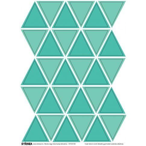 30 db háromszög falmatrica - menta, nagy