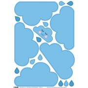5+1 db közepes méretű felhő falmatrica - kék
