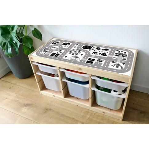 Városi utak - fekete-fehér matrica - fenyő TROFAST kerethez