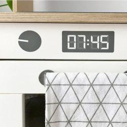 Sütő gomb + digitális óra matrica - fekete
