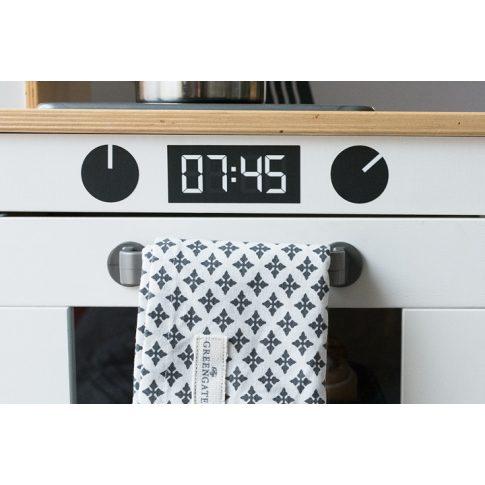 Sütő gomb + digitális óra matrica - fekete/sötétszürke