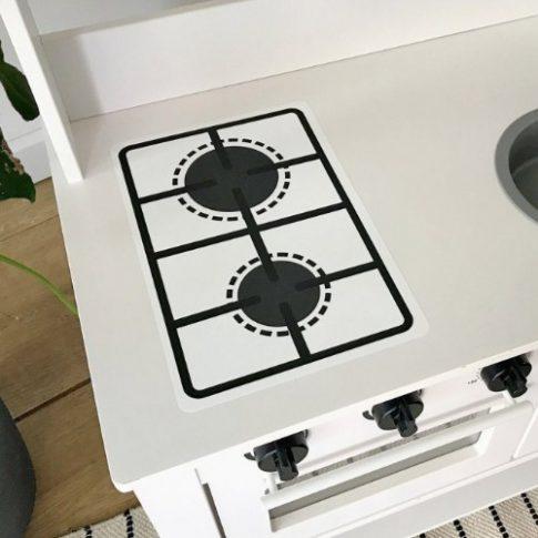Fehér főzőlap matrica - SPISIG játék konyhára