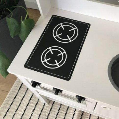 Fekete főzőlap matrica - SPISIG játék konyhára