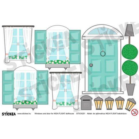 Kiegészítő matricák - menta - IKEA Flisat babaházra